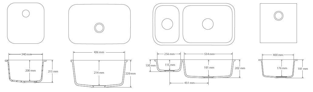 Exemples de cuves en corian, de dimensions standardisées.